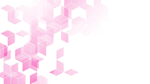 Abstract diamond square box pattern isometric design pink color animation 4K on CG動画