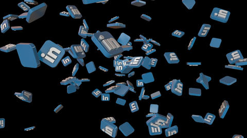 social icons fly through LinkedIn Loop CG動画素材