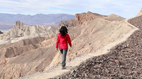 Asian Woman Hiking In Death Valley Footage