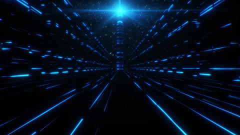 3D Blue Sci-Fi Tower of Babel Tunnel VJ Loop Background Animation