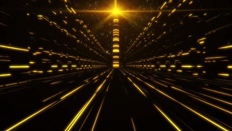 3D Gold Orange Sci-Fi Tower of Babel Tunnel VJ Loop Background Animation