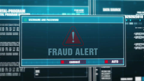 15. Fraud Alert Warning Notification on Digital Security Alert on Screen Footage
