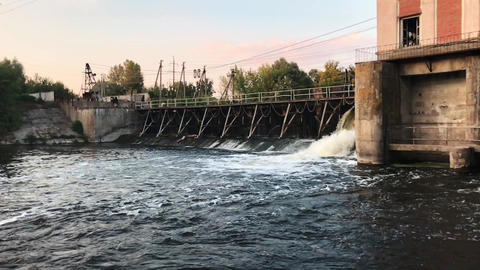 Water flowing from the dam Footage