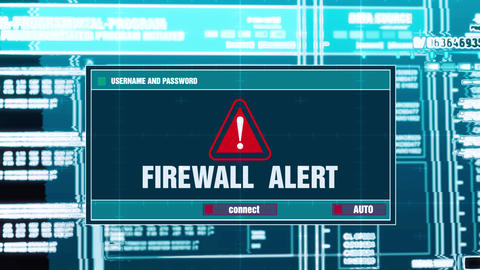 40. Firewall Alert Warning Notification on Digital Security Alert on Screen Footage