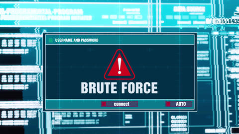 46. Brute Force Warning Notification on Digital Security Alert on Screen Live Action