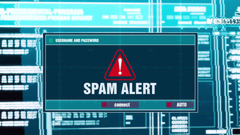 48. Spam Alert Warning Notification on Digital Security Alert on Screen Footage