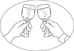 Hands With Wine Glass Toasting Drawing ベクター