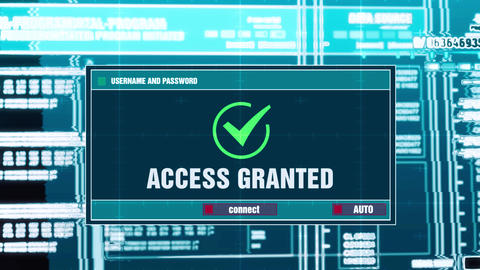 75. Access Granted Warning Notification on Digital Security Alert on Screen Footage