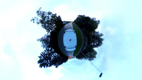 Tiny planet. Van driving time lapse. Urban art ビデオ