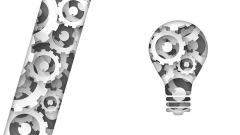 light bulb abstract industrial background with cogs Animation