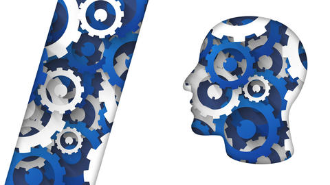 business technology concept human head blue white cogs background Animation