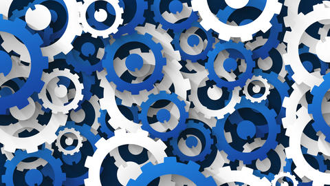 industrial background with blue and white cogs Animation