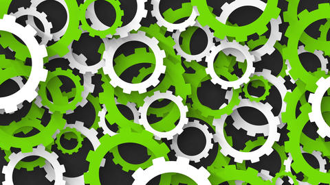 abstract industrial background with green and white gears Animation