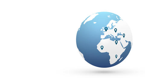 world map with location pin Animation