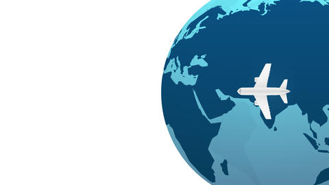 Travel by plane abstract motion background blue earth globe animation stock video Animation