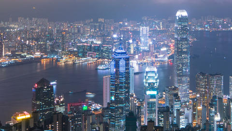 Hong Kong city at night top view from Victoria Peak, timelapse Live Action