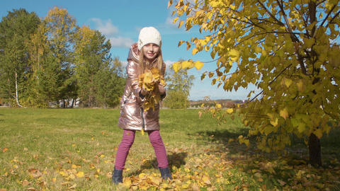Smiling teenager girl holding autumn leaves s and throwing up in autumn forest Footage