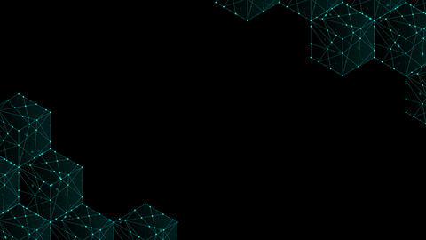 Cube box isometric pattern, Blockchain concept design illustration blue green Animation