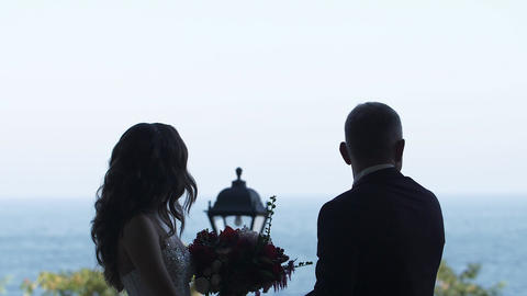 Silhouette of the couple Groom and Bride holding hands and looking forward Live Action