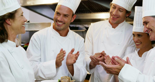 Gourmet cook applauding their colleague Footage