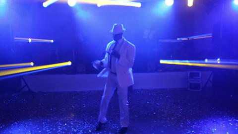 Afro American in a White Suit Dancing Footage
