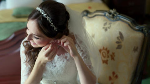 Elegant Brunette Bride Wear Beautiful Earrings Footage