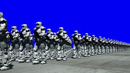Space Opera: Marching Troopers (Blue Screen) Stock Video Footage