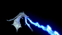 Realistic Ice Dragon flying and breathing blue flame. Loop with Alpha channel Animation