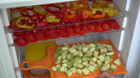 Freezing fresh vegetables at home Footage