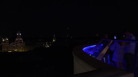 Madrid sunset Gran Via traffic roof top Metropolis view 4k, panorama, real time Footage