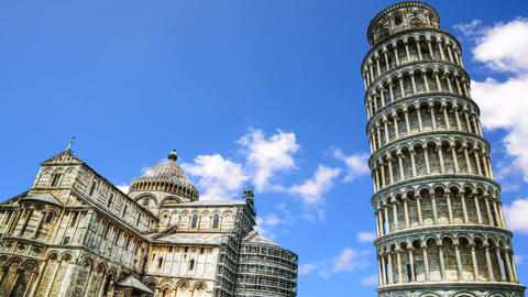 Clouds passing over world famous leaning tower in Piazza dei Miracoli in Pisa. Footage