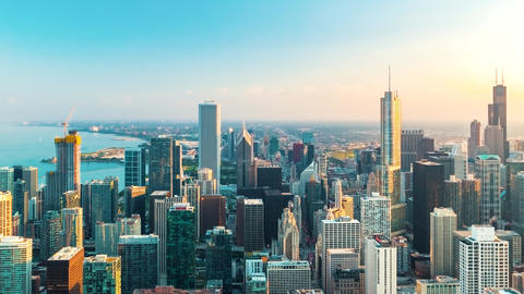 Chicago cityscape time-lapse from high above GIF