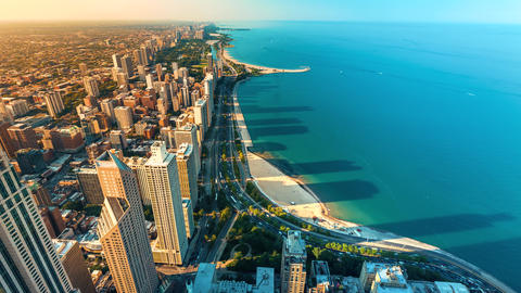 Time-lapse of the Chicago cityscape from high above GIF