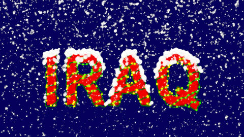 New Year text country name IRAQ. Snow falls. Christmas mood, looped video. Alpha Animation