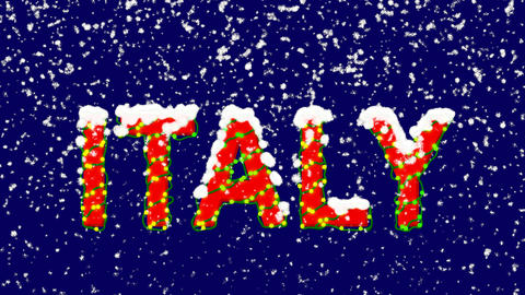 New Year text country name ITALY. Snow falls. Christmas mood, looped video. Animation