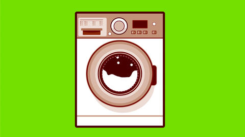 Retro Washing Machine 2D Animation Animation