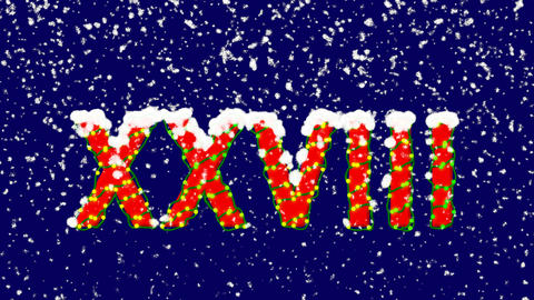 New Year text Roman numerals XXVIII. Snow falls. Christmas mood, looped video. Animation