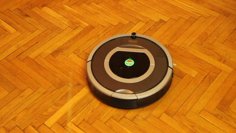Activation of domestic vacuum cleaning robot, intelligent household appliances Footage
