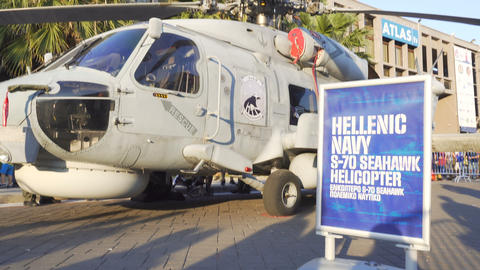 Sikorsky Seahawk naval military helicopter displayed during a fair 영상물