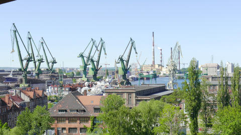 Gdansk, Poland. Industrial Area Of Shipyard In Gdansk 03 ビデオ