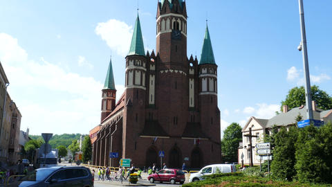 Noegotic church of St. Stanislaw Kostka in Wejherowo. Poland GIF