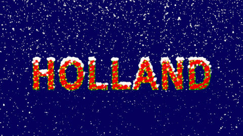 New Year text country name HOLLAND. Snow falls. Christmas mood, looped video. Animation