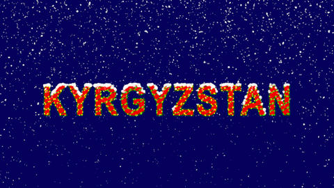 New Year text country name KYRGYZSTAN. Snow falls. Christmas mood, looped video. Animation