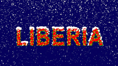 New Year text country name LIBERIA. Snow falls. Christmas mood, looped video. Animation