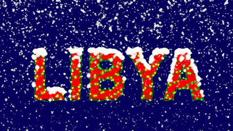 New Year text country name LIBYA. Snow falls. Christmas mood, looped video. Animation