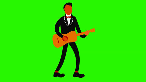 Tuxedo Man Playing Guitar Retro 2D Animation Stock Video Footage