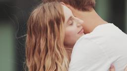 Woman hugging boyfriend feeling in love Footage