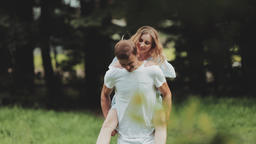 A loving couple, a boy and a girl, are walking around the... Stock Video Footage