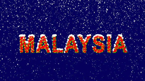 New Year text country name MALAYSIA. Snow falls. Christmas mood, looped video. Animation