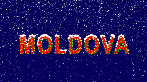 New Year text country name MOLDOVA. Snow falls. Christmas mood, looped video. Animation